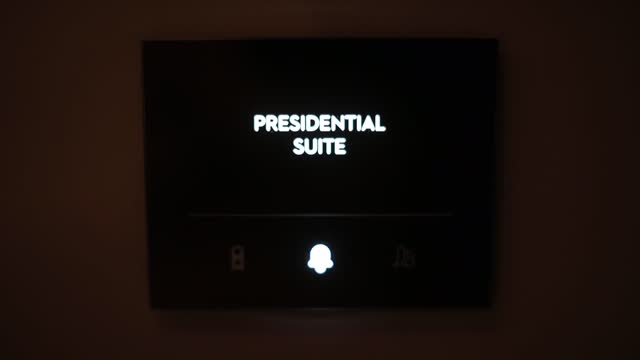Presidential suite inscribed doorbell dark device for singling from guest host
