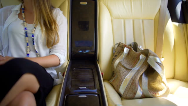 President's daughter enjoying trip in luxury automobile, lifestyle of the rich video
