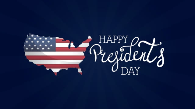 presidents day lettering with usa flag in map video