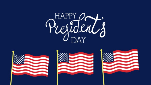 presidents day lettering with usa flags video