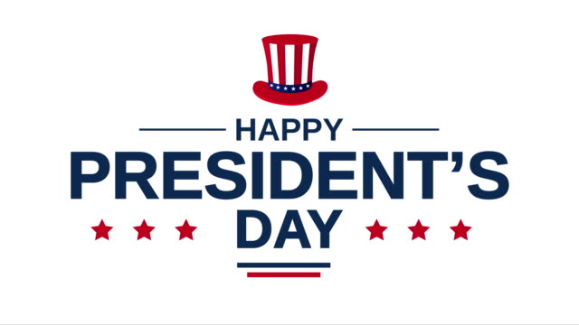 President's Day poster on white background. 4k animation