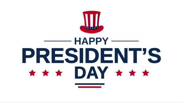 poster del giorno del presidente su sfondo bianco. animazione 4k - cappello video stock e b–roll