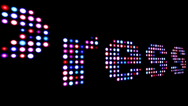 press colorful led text over black - newsletter video stock e b–roll