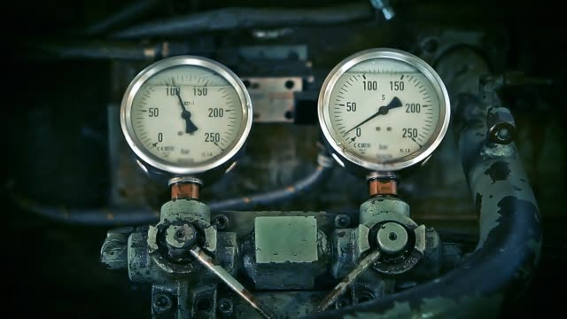 Pressure Gauges. Close-Up.