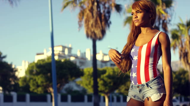 Pretty African Woman in Casual Summer Clothing video