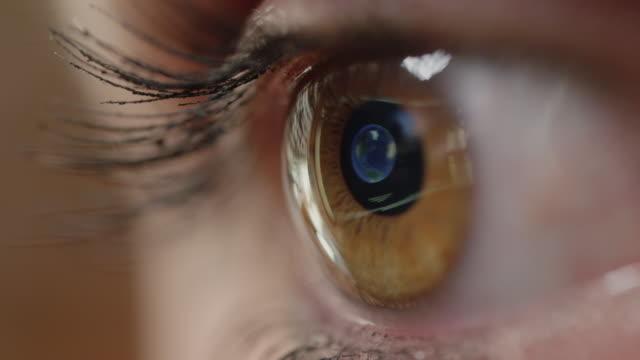 zamknij makro: dość brązowe oko patrząc na mapę madrytu na ekranie komputera - odbicie zjawisko świetlne filmów i materiałów b-roll