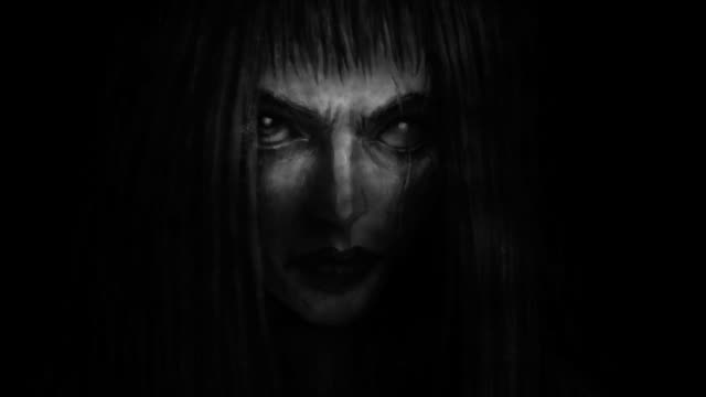 Pretty face of scarred girl appears from darkness and smiles. Pretty face of scarred girl appears from darkness and smiles. Animation in genre of fantasy. Black and white colors. vampire stock videos & royalty-free footage
