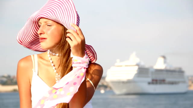 pretty girl wearing a straw hat