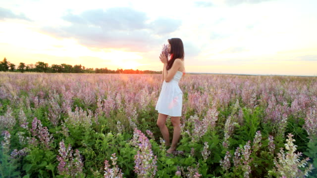 Pretty Girl With a Bouquet Of Lavender video