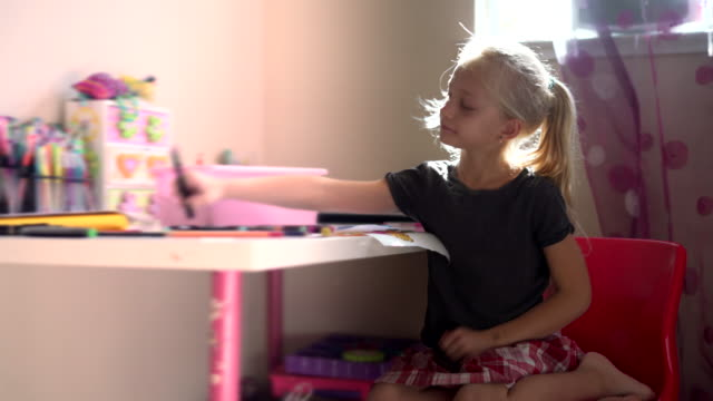 Pretty Little Girl Drawing In The Kids Room Stock Video Download Clip Now Istock