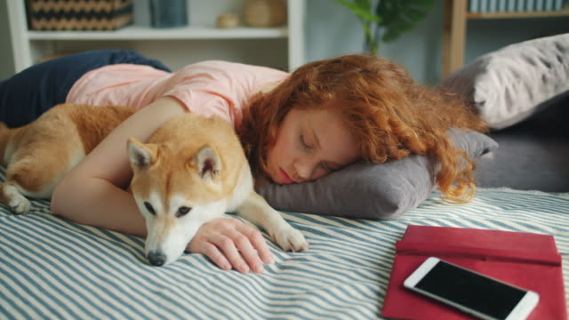Pretty teenage girl sleeping at home hugging adorable shiba inu dog in sleep