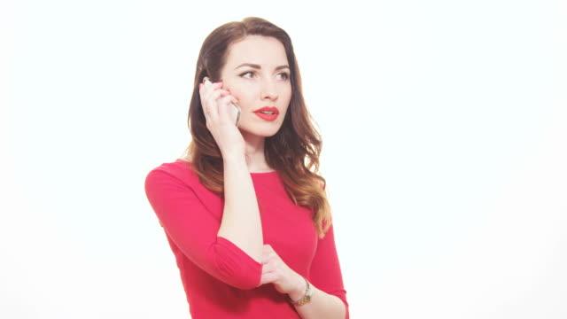 Hübsche Frau beantworten Handy enttäuscht unglücklicher Reaktion – Video