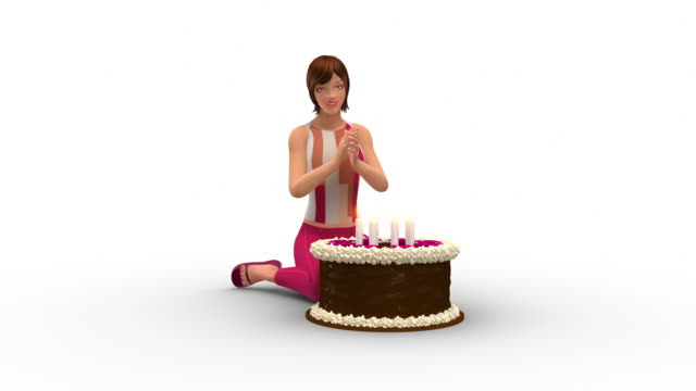Pretty Woman Blowing Out Candles On Her Birthday video