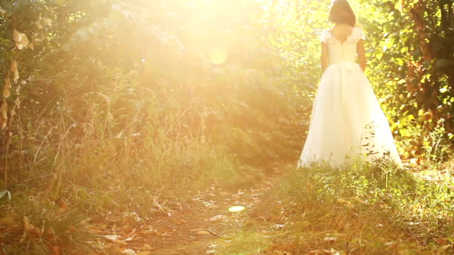 pretty woman white wedding dress nature sun forest background - wedding fashion stock videos and b-roll footage