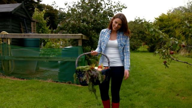 vídeos de stock e filmes b-roll de bonita jovem mulher com um cesto de vegetais mini um cão - agricultora