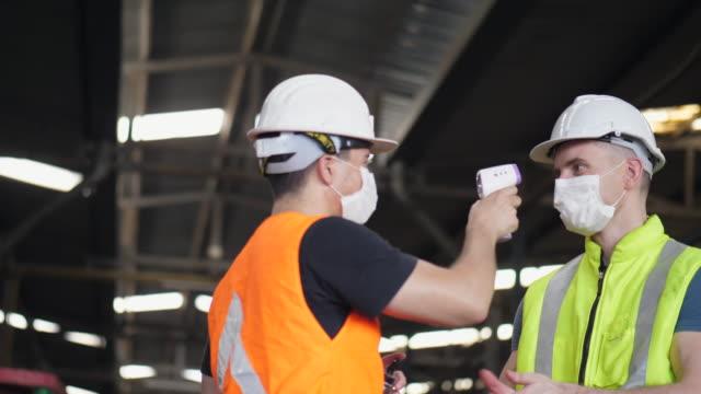 COVID-19 Preventive Workers checking temperature