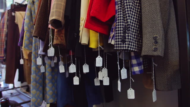 Price Tags Swinging in Second Hand Clothing Store video