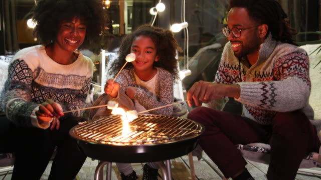 Priceless family moments Family on porch making roasted marshmallow christmas fun stock videos & royalty-free footage