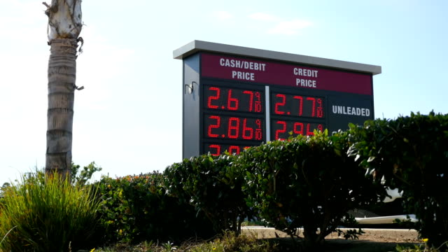 Prices at the gas station in California in 4K video