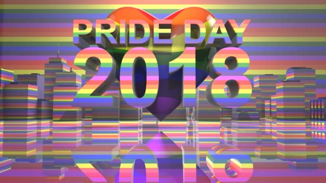 Pride Day 2018 LGBTQIA Gay Pride LGBT Mardi Gras graphic title 3D render LGBTQIA+ Community Gay Pride LGBT Mardi Gras graphic title 3D render. The letters LGBT & LGBTQIA refer to lesbian, gay, bisexual, transgender, queer or questioning, intersex, and asexual or allied. cisgender stock videos & royalty-free footage