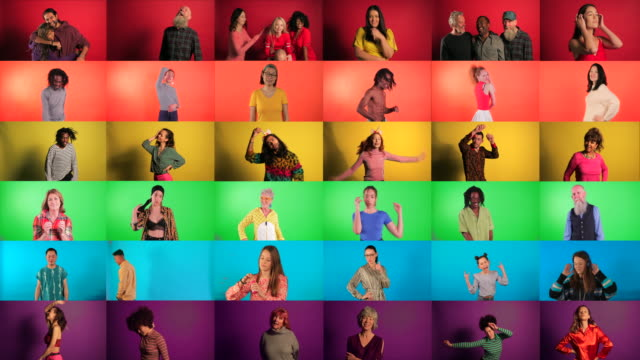 Pride Flag Montage A 4k resolution montage of a large group of individual portraits together to form a pride flag, a multi-ethnic group of mixed aged people can be seen expressing freedom through dance. love emotion stock videos & royalty-free footage