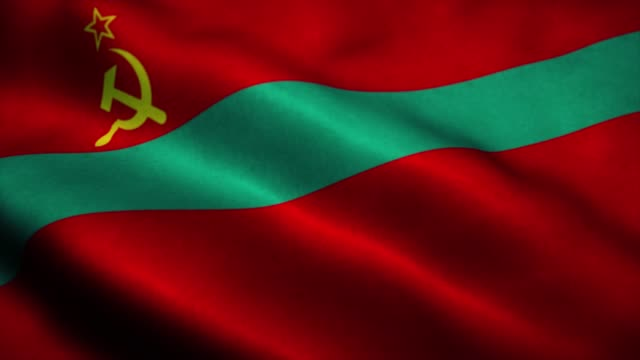 vídeos de stock, filmes e b-roll de bandeira da república moldávia pridnestroviana acenando ao vento. sinal de animação de loop sem emendas da transnístria. 4k - futebol internacional