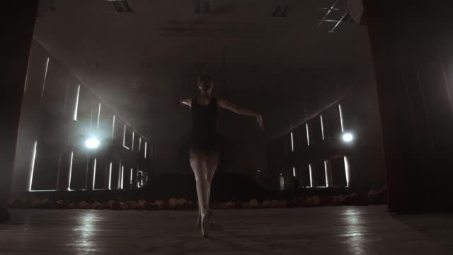煙の中で舞台リハーサルを行うプリマバレエ劇場 - バレエ点の映像素材/bロール