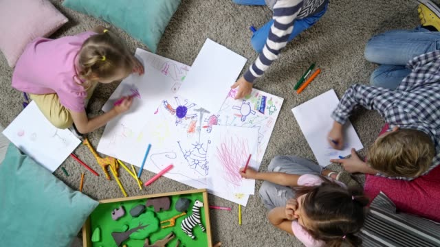Primary School Children Drawing Together video
