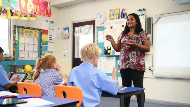 Primary school teacher standing in front of white board talking to class video