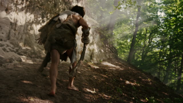 Primeval Caveman Wearing Animal Skin Holds Stone Tipped Hammer Looks Around, Exploring Prehistoric Forest, Ready to Hunt Animal Prey. Neanderthal Going Hunting into Jungle. Following Back View Shot