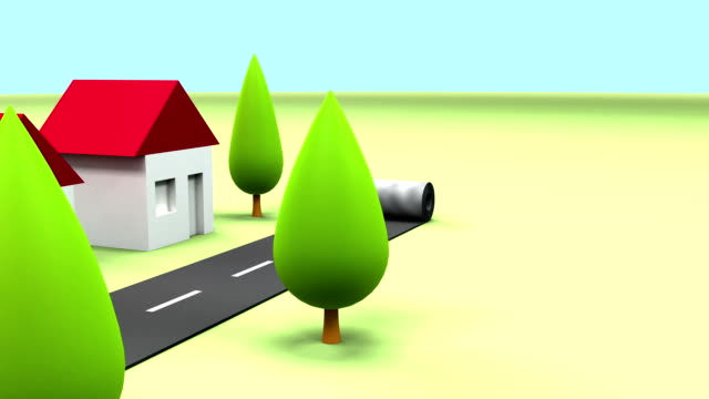 Primitive cartoon houses and the road. 3D animation video