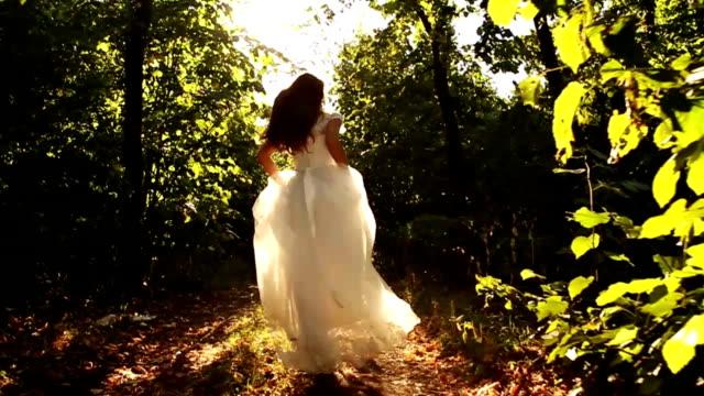 Princess Dress Woman Running Fairy Tale Forest Concept HD video