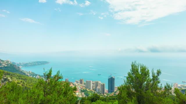 Principality of Monaco, Monte Carlo, panoramic 4k time-lapse video