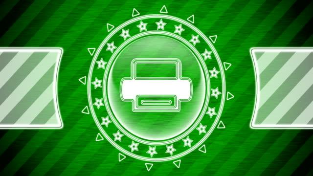 icona della stampante in forma circolare e sfondo a strisce verdi. illustrazione. - navigare in internet video stock e b–roll