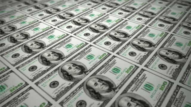 Printing 100 Dollars Bills (Loopable) video