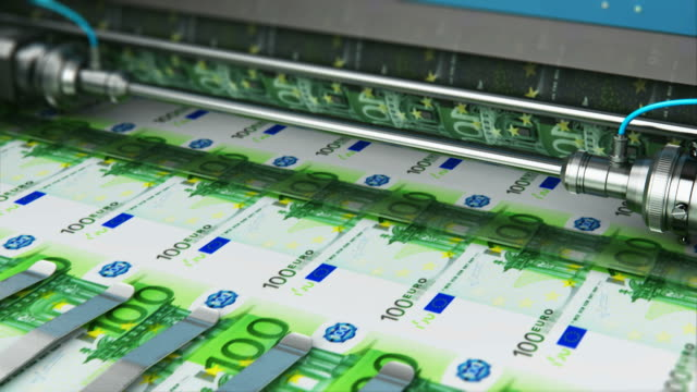 Printing 100 Euro money banknotes Business success, finance, banking, accounting and making money concept: 3D render video of printing 100 Euro money paper cash banknotes on print machine in typography paper currency stock videos & royalty-free footage