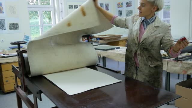 printing and etching - art and craft products made by one determined woman - lithograph stock videos & royalty-free footage
