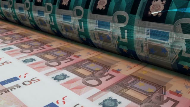 Printing fifty euro bills, Loopable 50 Euro banknotes are being printed by currency press machine. Seamlessly loop. printmaking technique stock videos & royalty-free footage