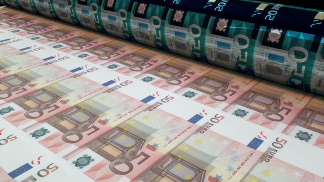 Printing fifty euro bills, Loopable 50 Euro banknotes are being printed by currency press machine. Seamlessly loop. european union currency stock videos & royalty-free footage