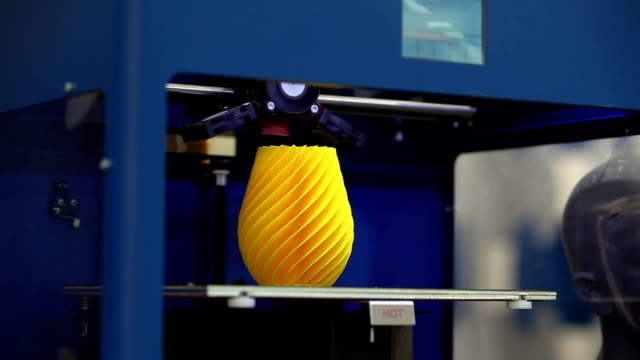 3D printing machine detail in action video