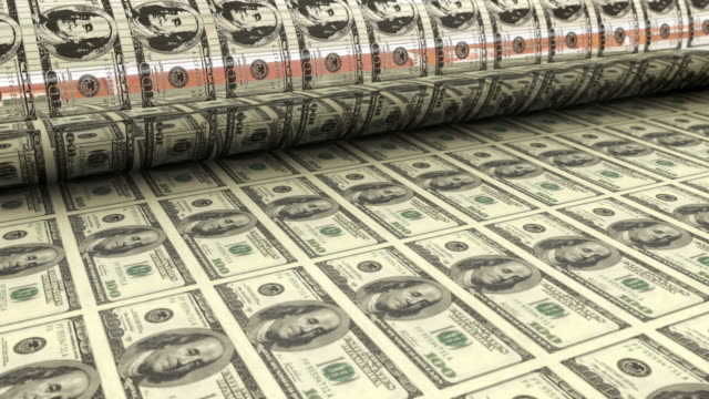 Printing money HD 1080p: Printing money, US one hundred dollar bills roll out of printing press. High quality 3D render. treasury stock videos & royalty-free footage