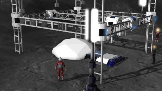 3D printing of a building on the moon - astronauts supervise - zoom out video