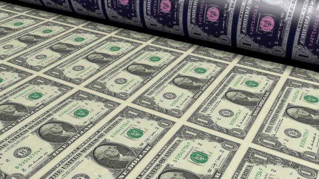 Printing one dollar bills video