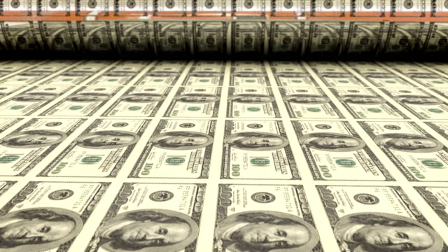Printing one hundred dollar bills HD 1080p: Printing money, US one hundred dollar bills roll out of printing press.  Slow dolly movement left to right.  High quality 3D animation. treasury stock videos & royalty-free footage
