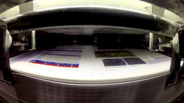 Printing plant sheet fed machine closeup video