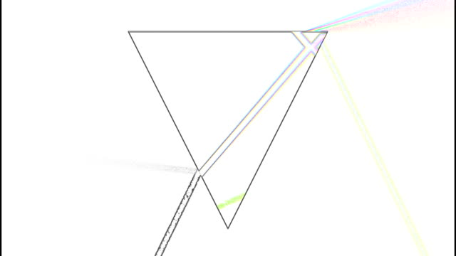 Prism refracting light 3d footage. Glass pyramid separating beam with glitch effect animation. Scientific phenomenon isolated on white background. Sunlight rainbow colors spectrum abstract video Prism refracting light 3d footage. Glass pyramid separating beam with glitch effect animation. Scientific phenomenon isolated on white background. Sunlight rainbow colors spectrum abstract video refraction stock videos & royalty-free footage