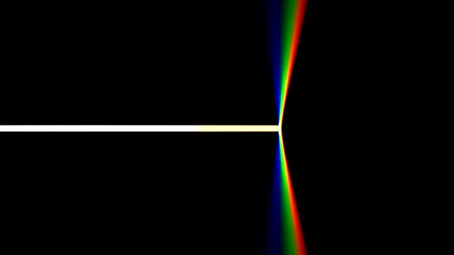 Prism Prism separating a white light beam into a rainbow of colors. Black background. HD loop. prism stock videos & royalty-free footage