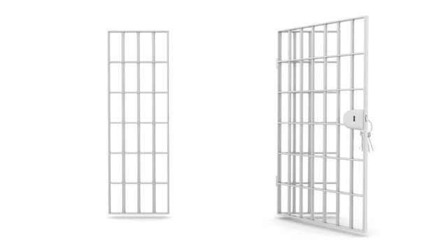 Prison bars Opening prison bars with camera walking in, 3d render prison bars stock videos & royalty-free footage