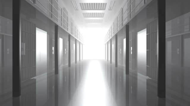 Prison Cell Door Closing Digital Render Prison gate closing. Light shines from the other end of the hallway. Digitally created animation with alpha matte.  prison bars stock videos & royalty-free footage