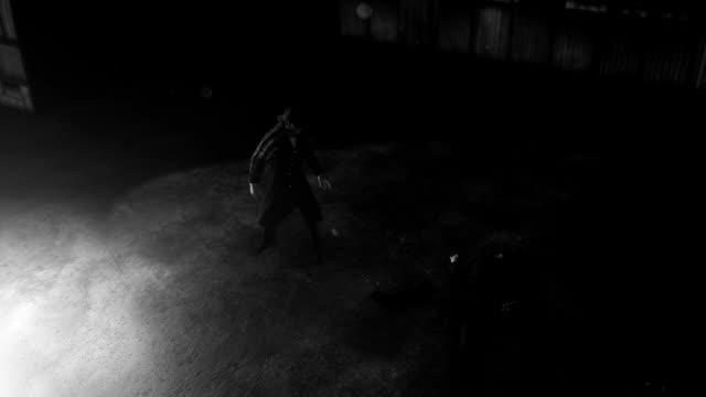 Private Detective Sherlock Holmes Investigating a Crime Scene with Dead Body